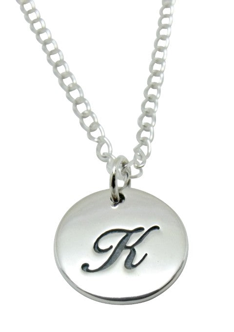 "Baby and Children's Necklaces:  Sterling Silver Initial ""K"" Disks"
