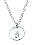 "Baby and Children's Necklaces:  Sterling Silver Initial ""S"" Disks"