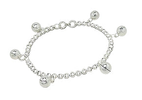 "Baby and Children's Anklets:  Sterling Silver Jingle Bell Anklets 7"" (17cm)"