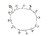 Children's Anklets:  Sterling Silver 12 Bell Premium Cambodian Jingle Bell Anklets with Gift Box