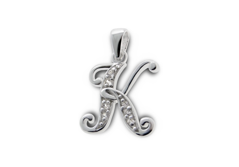 Children's Necklaces:  Sterling Silver, CZ Encrusted Letter K Necklaces, Your Choice of Chain Length