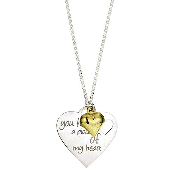 Teens' and Children's Necklaces:  Sterling Silver Message Necklace with Gold Heart