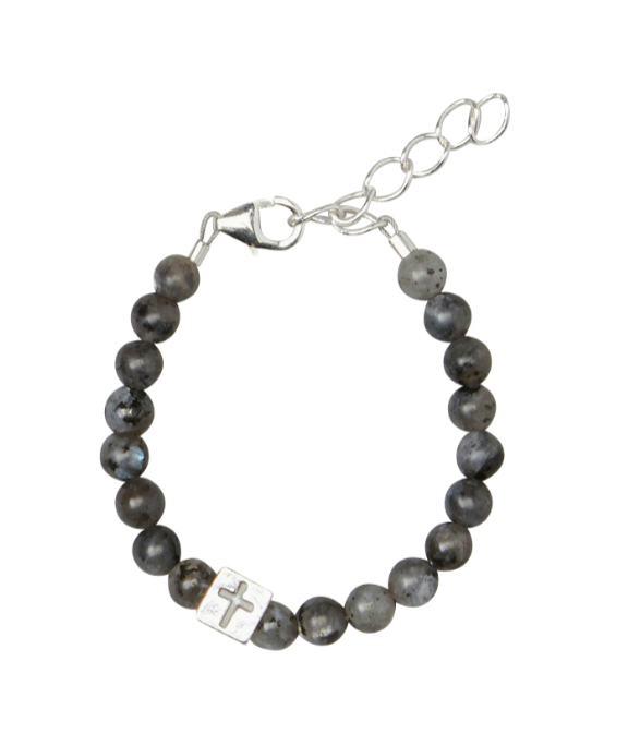 Baby Boy Bracelets:  Sterling Silver, Labradorite Ball Bracelets with Box Charm with Cross