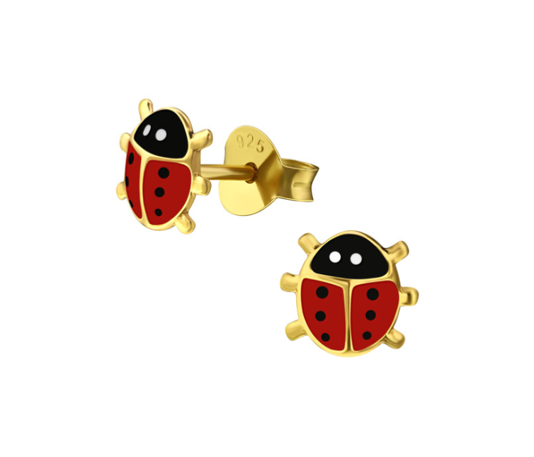 Baby and Children's Earrings:  14k Gold over Sterling Silver, Ladybug Earrings