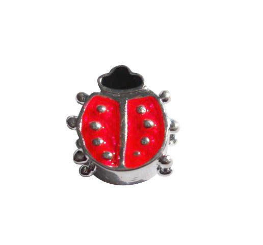 Children's Beads:  Silver Plated/Enamel Ladybug European Style Beads