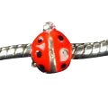 Children's Beads:  Red/Black Ladybug European Style Beads