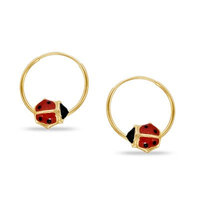 Children's Earrings:  10K Gold Sleepers with Ladybugs