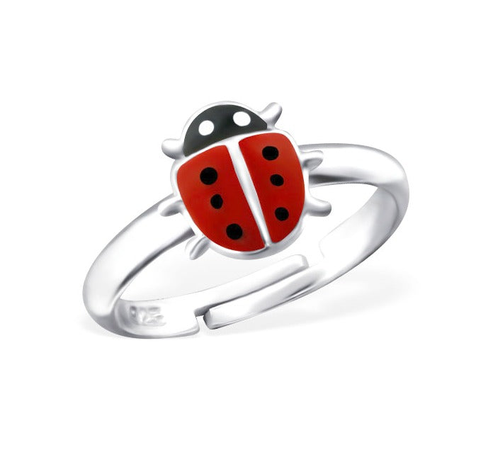 Children's Rings:  Sterling Silver Ladybug Rings Adjustable.