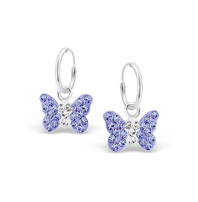 Children's Earrings:  Sterling Silver and Lavender Crystal Butterfly Sleepers/Hoops