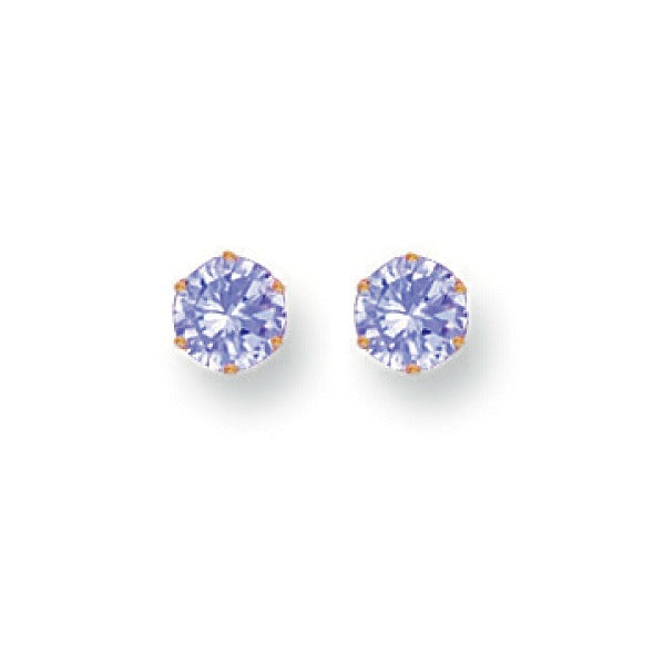 Baby and Children's Earrings:  9k Gold Lavender CZ 4mm Earrings with Push Backs