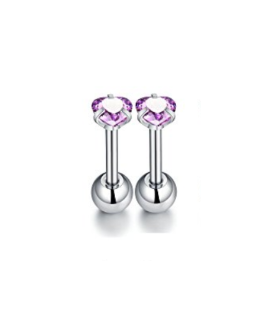 Baby and Children's Earrings:  Surgical Steel Reversible Lavender 4mm CZ Hearts with Ball Style Screw Back Earrings