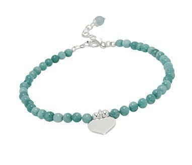 Teens' and Children's Bracelets:  Sterling Silver, Light Blue Agate Ball Bracelets with Heart