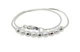 Children's Anklets:  Silver Plated Anklets with Pearls and Silver Balls