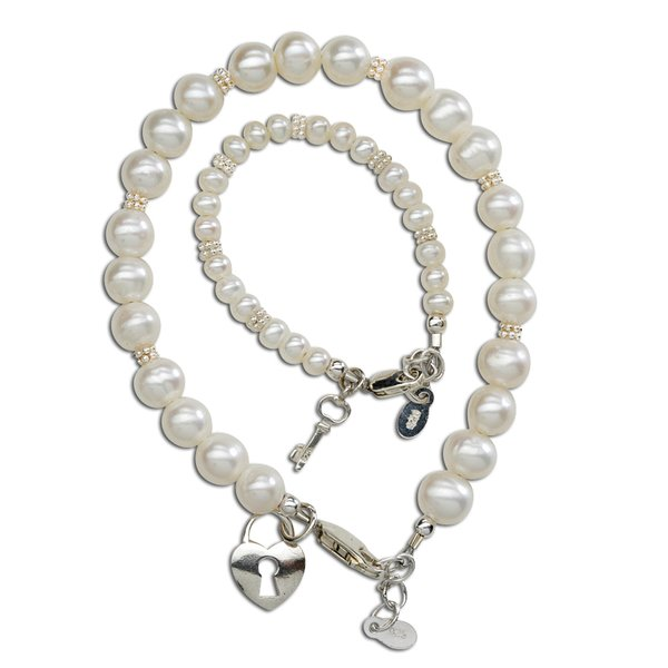 Mother and Baby Bracelet Sets:  Sterling Silver, Freshwater Pearl Mother and Baby Bracelet Heart Lock and Key Sets
