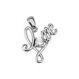 "Children's Pendants:  Surgical Steel ""Love"" Pendant with CZ"
