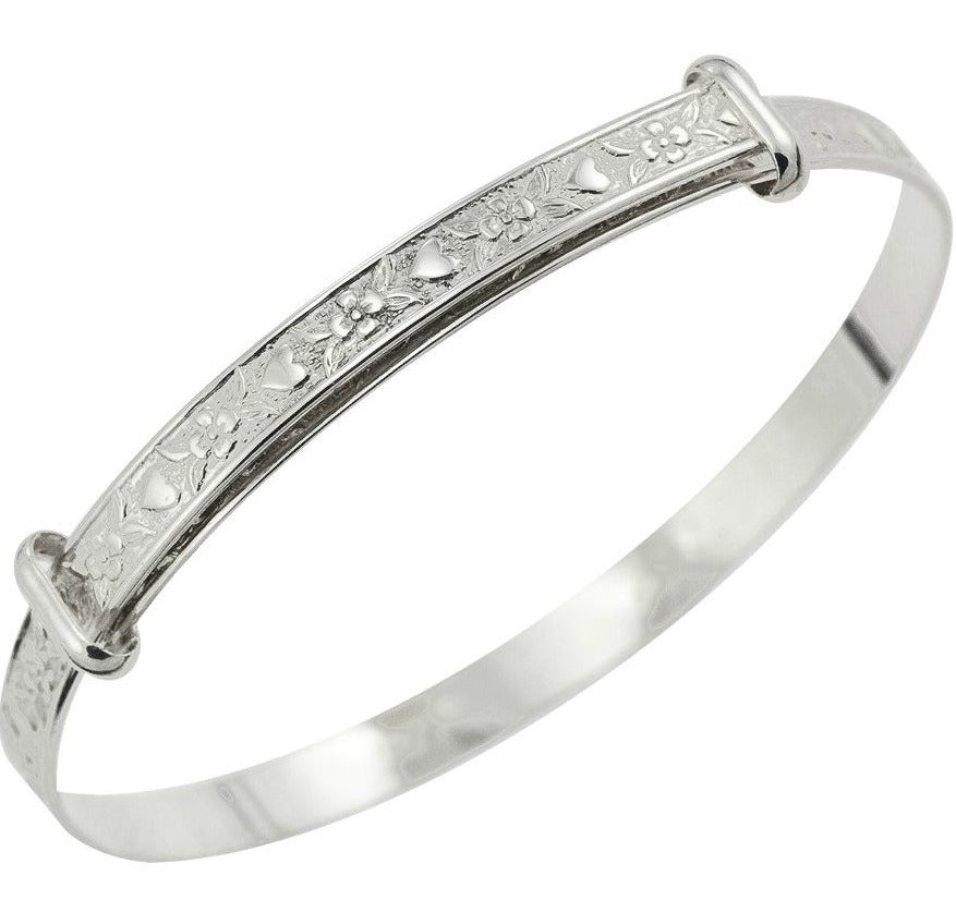 Children's Bangles:  Sterling Silver, Exquisitely Embossed Maid's Bangles with Complimentary Gift Box