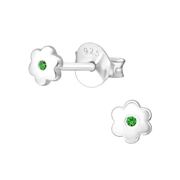 Baby and Children's Earrings:  Sterling Silver Flower Earrings with Central Emerald CZ - May Birthstone
