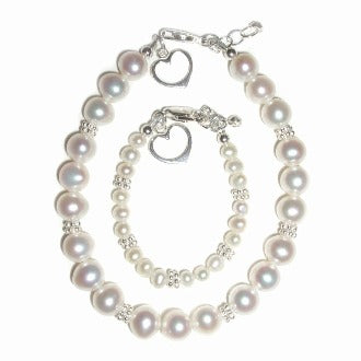 Mother and Baby Bracelets:  Sterling Silver, Freshwater Pearl, Mother and Baby Matching Bracelet Set with Open Hearts