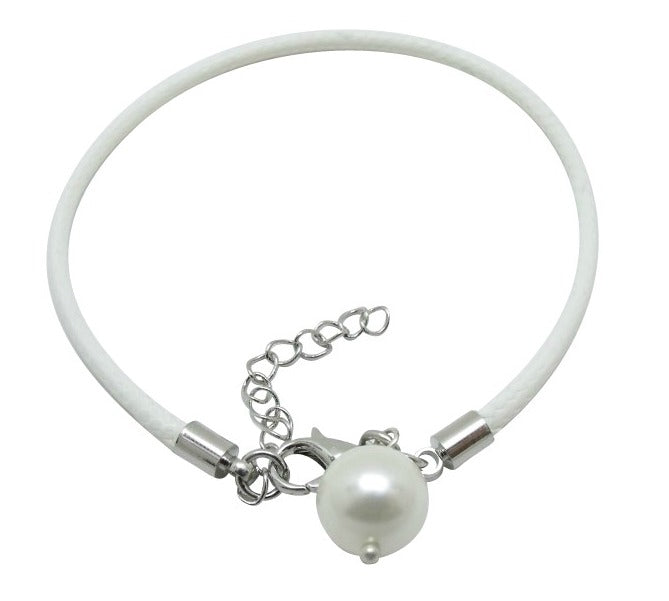 Mothers' and Children's Bracelets:  White, Woven Leather Bracelets with Pearl