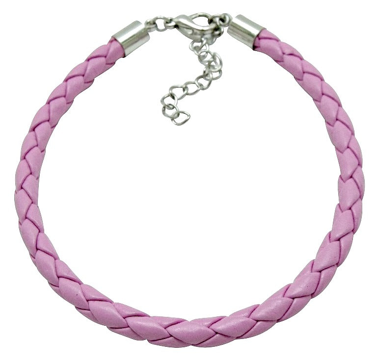 Teenagers' and Mothers' Bracelets:  Pink Woven Leather Bracelets