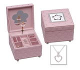 Pink Simulated Leather, Musical, Ballerina, Classic Children's Jewellery Box with Free Sterling Silver Open Heart Necklace