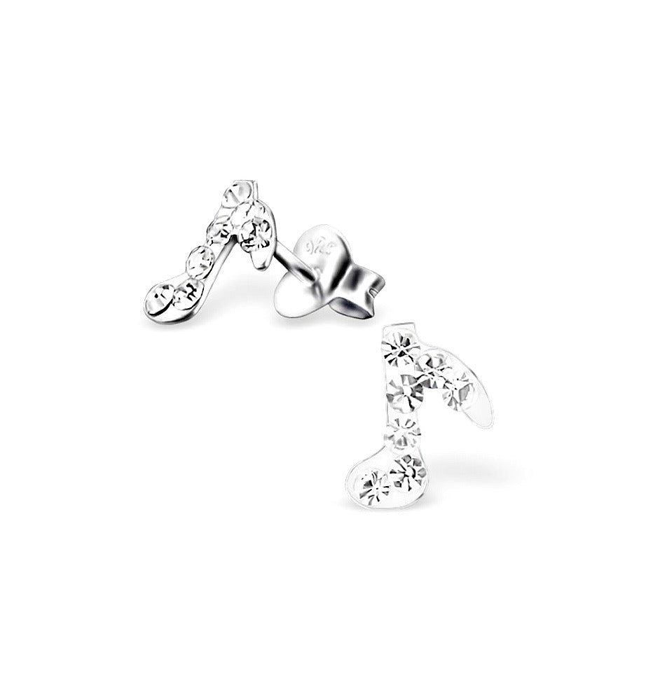 Children's Earrings:  Sterling Silver CZ Musical Notes Earrings