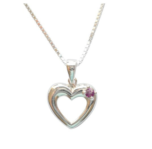Baby and Children's Necklaces:  Sterling Silver Open Heart with Tourmaline