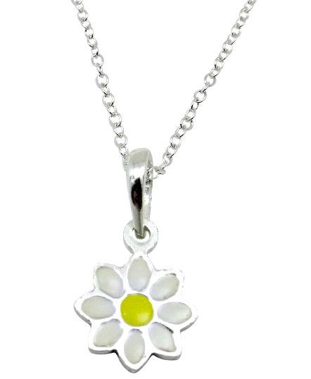 Children's Necklaces:  Sterling Silver Enameled Daisy Necklaces