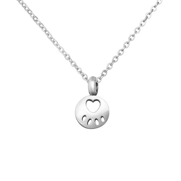 "Children's Necklaces:  Surgical Steel Paw Disc on 16"" (40cm) Chain"