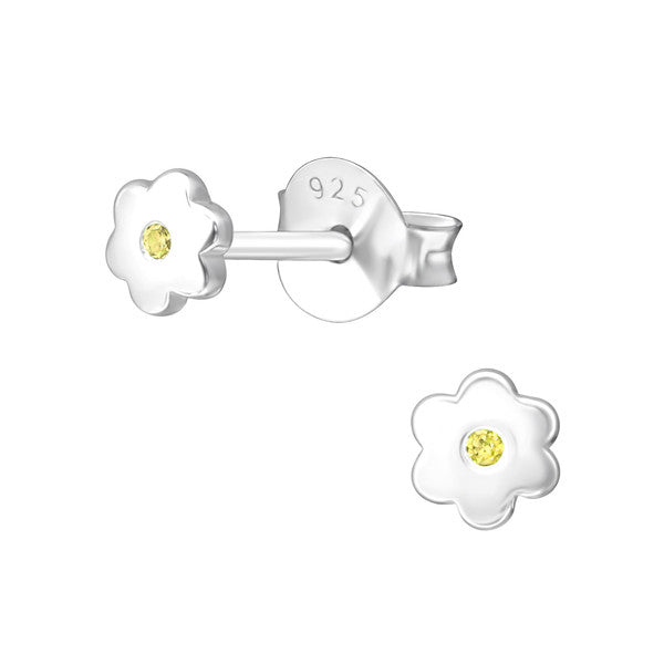 Baby and Children's Earrings:  Sterling Silver Flower Earrings with Central Citrine CZ - November Birthstone