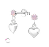 Children's Earrings:  Sterling Silver Swarovski Rose Water Opal with Dangle Puffy Hearts