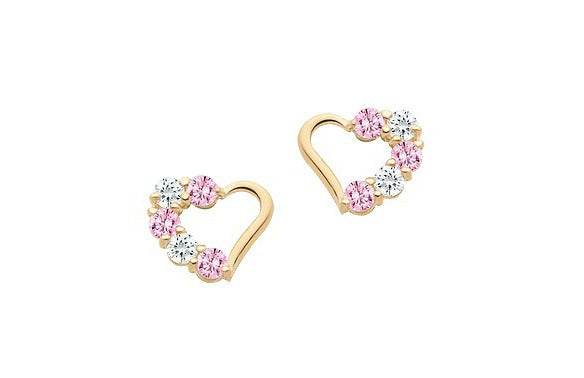 Children's Earrings:  14K Gold Open Heart Pink and White CZ with Safety Screw Backs