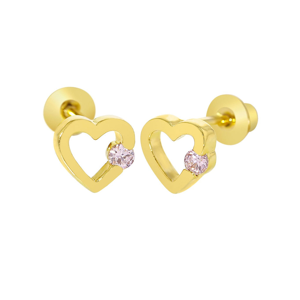Baby and Children's Earrings:  18k Gold Filled Open Hearts with Pink CZ with Screw Backs