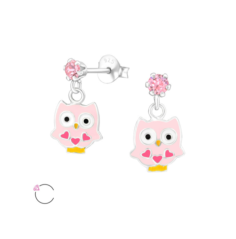 Children's Earrings:  Sterling Silver Dangly Owls with Swarovski Crystal