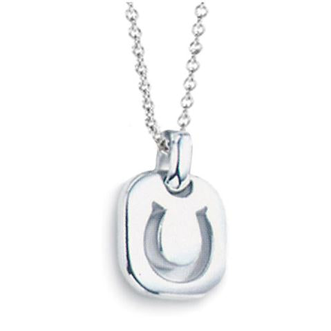 Children's Necklaces:  Sterling Silver Horseshoe Pendant Necklace