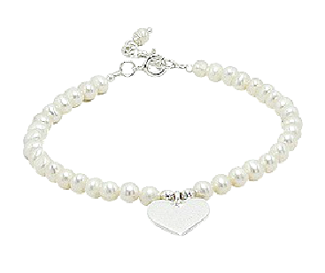 Children's and Teens' Bracelets:  Sterling Silver, White, Freshwater Pearl Bracelets with Heart