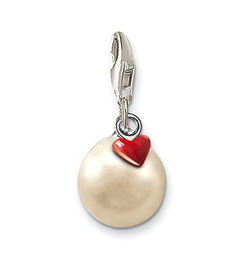 Baby, Children's and Mothers' Charms:  Sterling Silver Pearl with Red Heart Charms