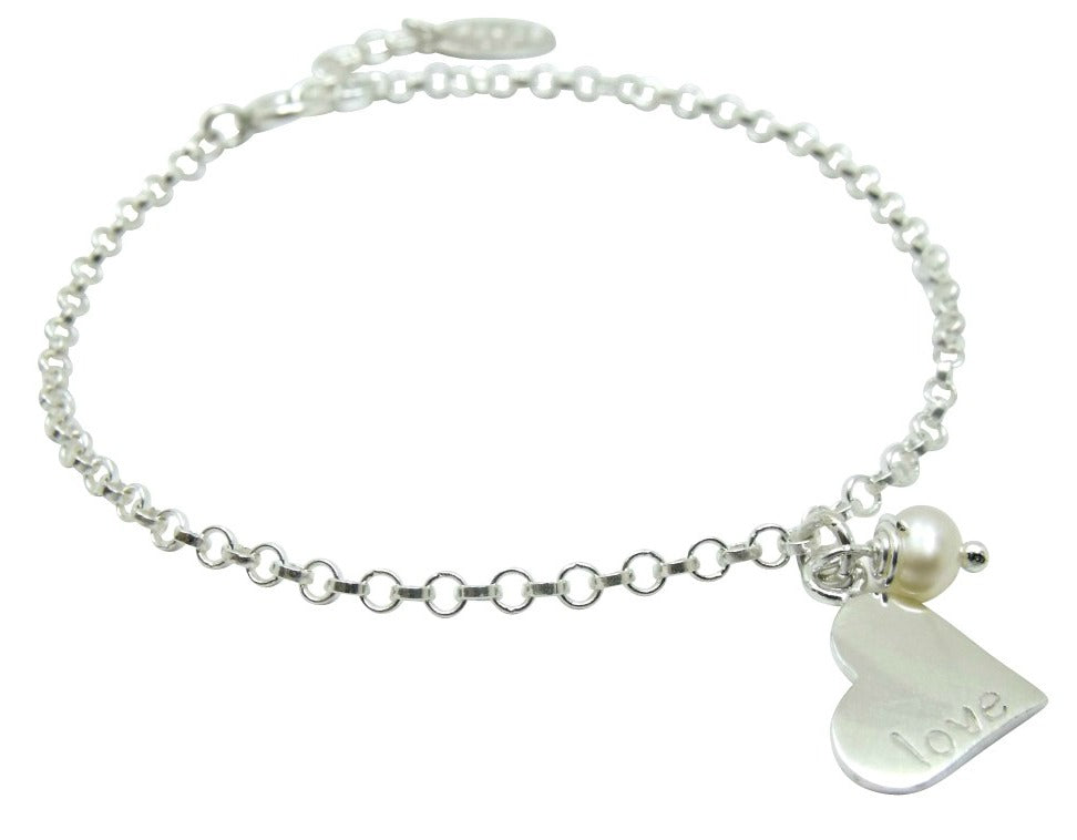 Children's Bracelets:  Sterling Silver Peace and Love Bracelets with Pearl