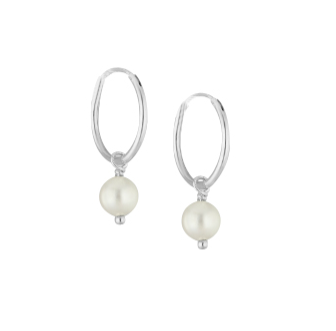 Children's Earrings:  Sterling Silver 14mm Sleepers/Hoops with Freshwater Pearls