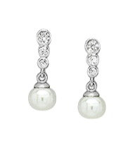 Mothers' and Teens' Earrings:  Sterling Silver, CZ and Cultured Freshwater Pearl Earrings