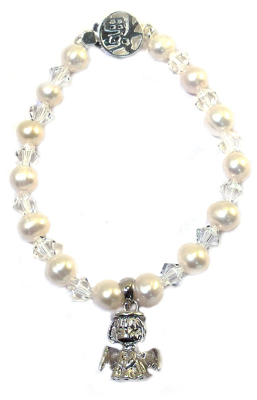 Baby Bracelets and Children's Bracelets:  Sterling Silver, Freshwater Pearl & Swarovski Crystals and Angel Charm