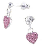 Children's Earrings:   Sterling Silver Pink Sparkly Crystal Heart Drop Earrings