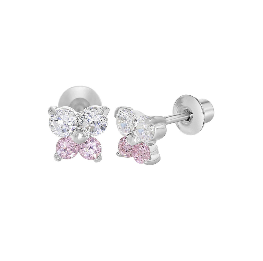 Baby and Children's Earrings:  18k White Gold Filled, White and Pink CZ Butterflies with Screw Backs