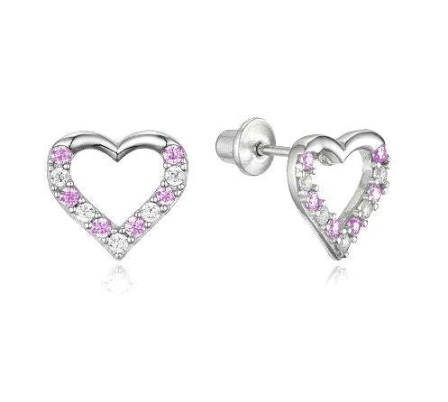 Children's Earrings:  Sterling Silver Pink/White CZ Open Hearts with Screw Backs