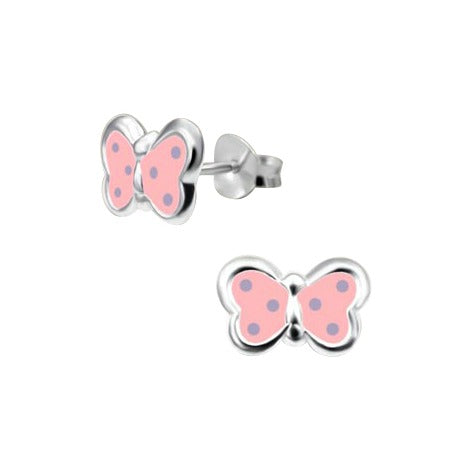 Children's Earrings:  Sterling Silver, Baby Pink with Blue Dots, Butterfly Earrings