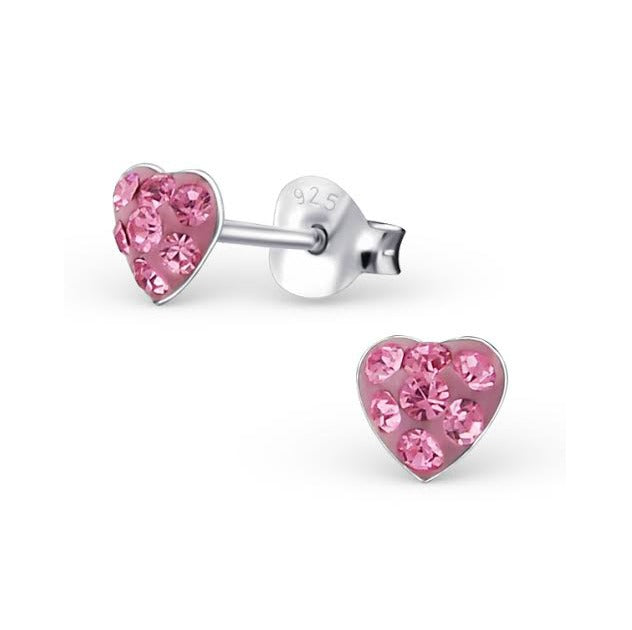 Baby and Children's Earrings - Tiny Sterling Silver, Pink CZ Hearts