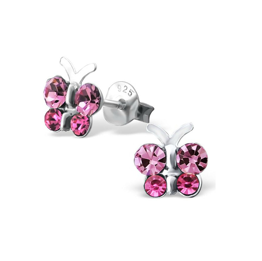 Children's Earrings: Children's Earrings:  Sterling Silver, Pink CZ Butterfly Earrings