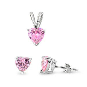 Children's Earrings and Necklace Sets:  Sterling Silver Pink CZ Hearts