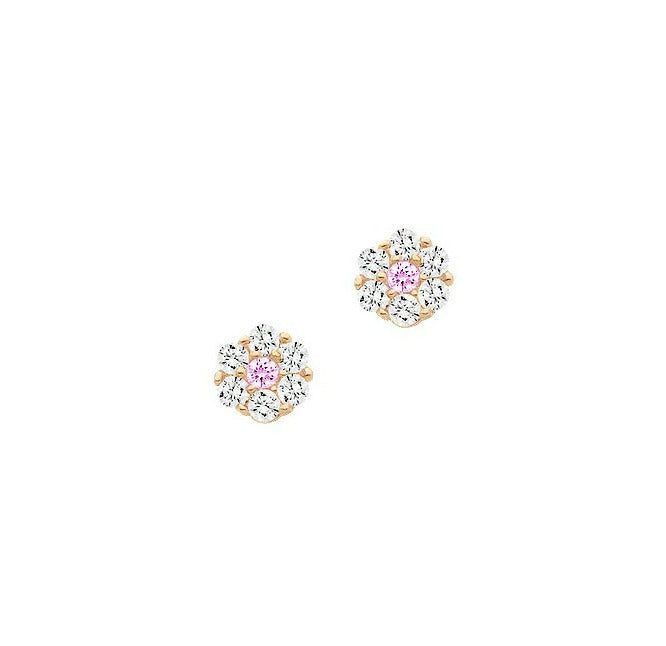 Baby and Children's Earrings:  14K Gold Clear/Pink CZ Flower Safety Screw Backs