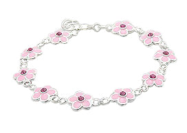 Baby and Children's Bracelets:  Sterling Silver, Pink Enameled Flower Bracelets